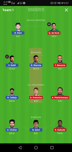 Dream11 beat Caption Option,Best Dream11 team,Gaand League team,Ind vs sa
