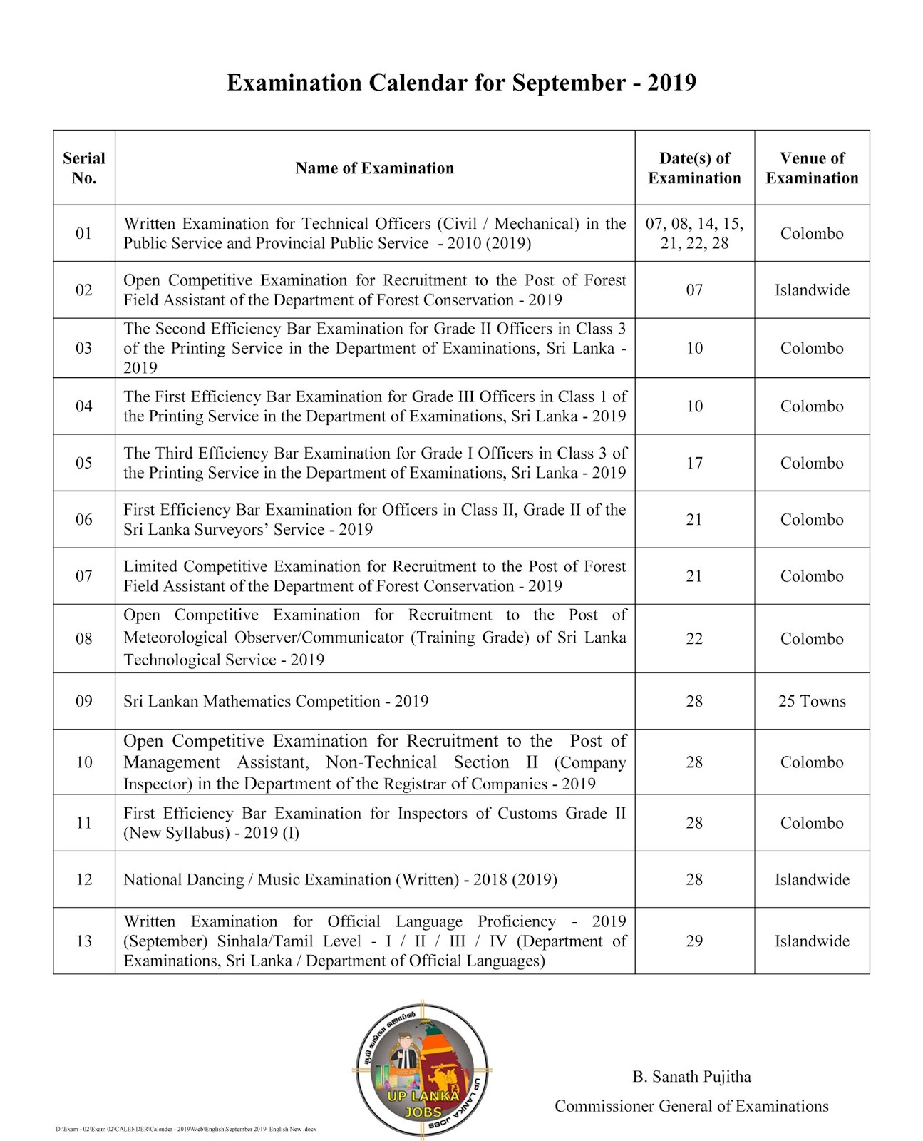 SRI LANKA GOVERNMENT VACANCY EXAMINATION CALENDAR FOR