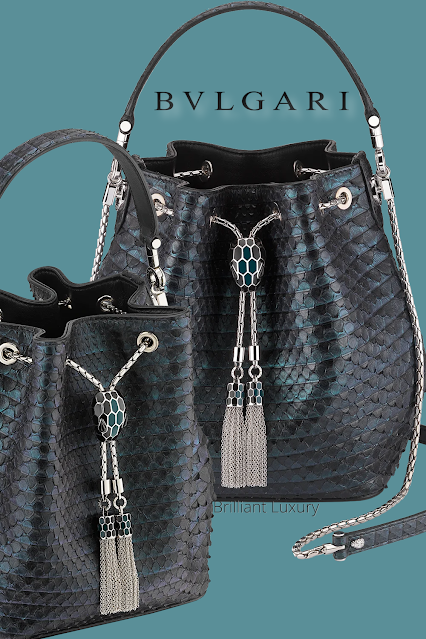 Bvlgari Serpenti Forever bucket bag in deep jade plissé python skin and black nappa inner lining #brilliantluxury