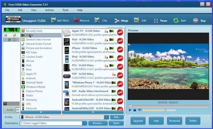 Free CUDA Video Converter :  Μετατροπέας βίντεο με υποστήριξη,  πολυπύρηνων επεξεργαστών