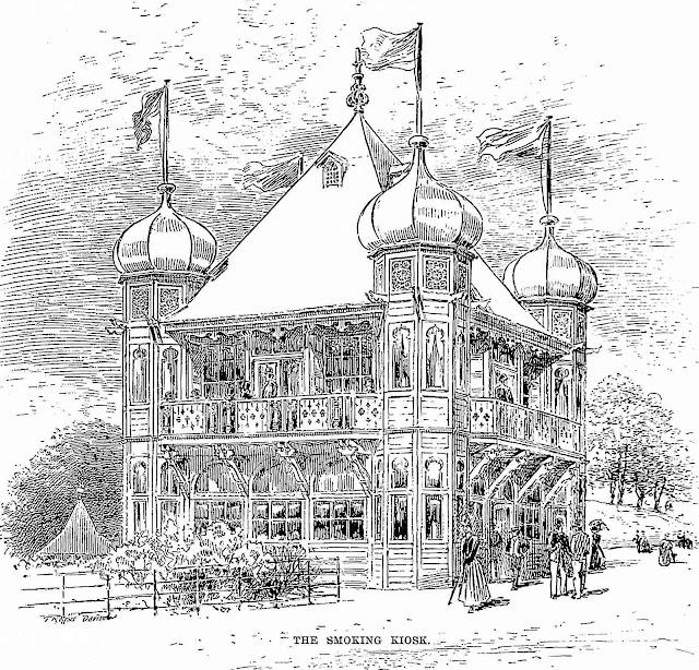 the Smoking Kiosk at the 1888 Glasgow International Exhibition, illustration