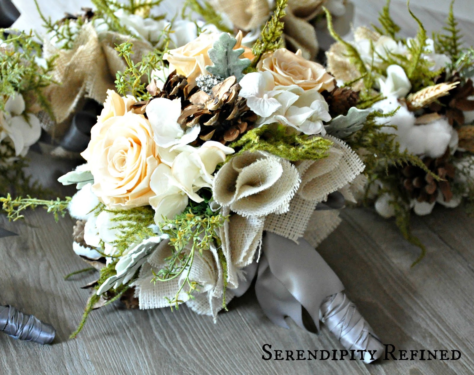 Burlap Wedding Flowers Autumn Fall Pinecone Rose Hydrangea Moss