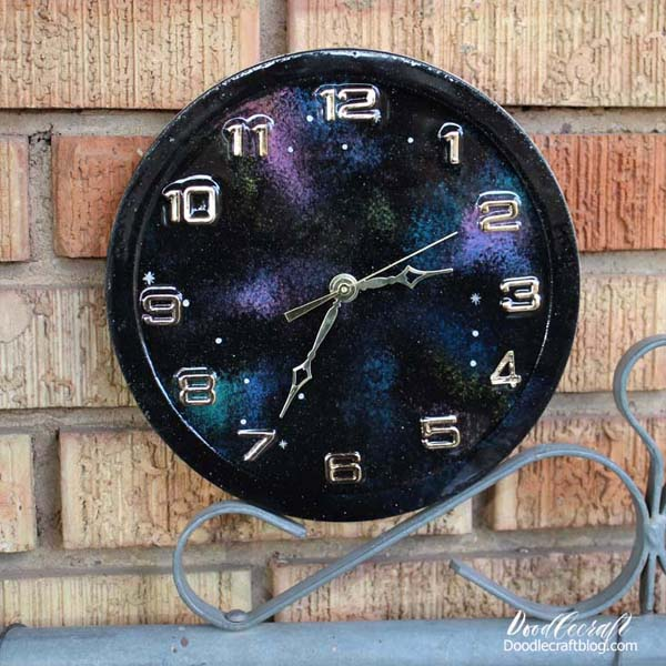 Galaxy painted resin clock with high gloss resin finish