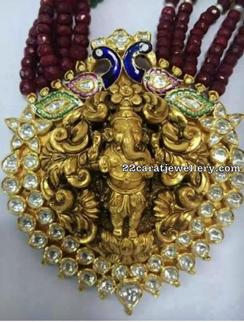Large Ganesh Pendant with Beads
