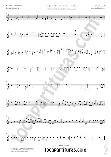2 Symphony Nº 40 Sheet Music for Trumpet and Flugelhorn Music Scores PDF and MIDI here