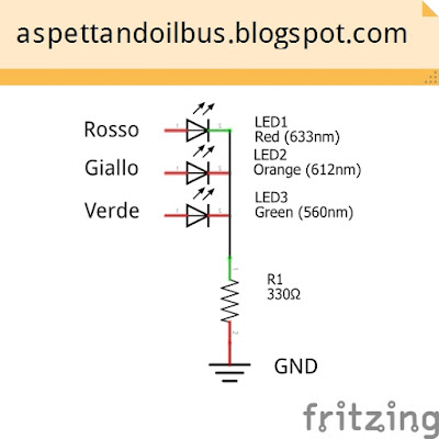 Fig. 1 - Schema elettrico del semaforo a LED di Paolo Luongo