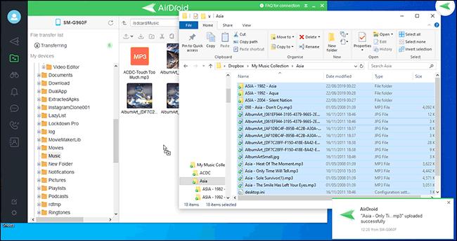 نقل الملفات بين الكمبيوتر الشخصي و Airdroid