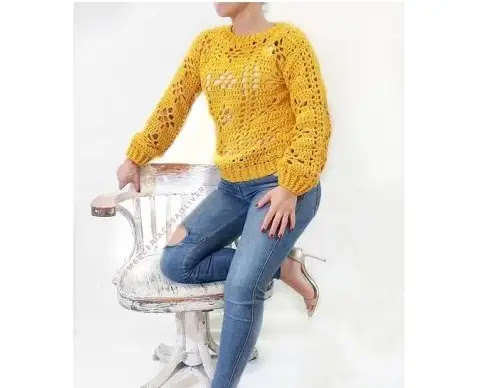 Jersey en Puntada Calada Tejido a Crochet