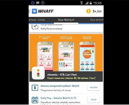 Whaff Rewards untuk dapat pulsa gratis