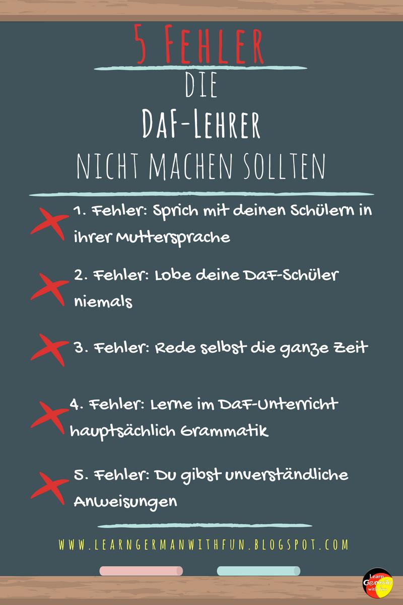 Diese Fehler sollten DaF-Lehrer unbedingt vermeiden - Learn German ...
