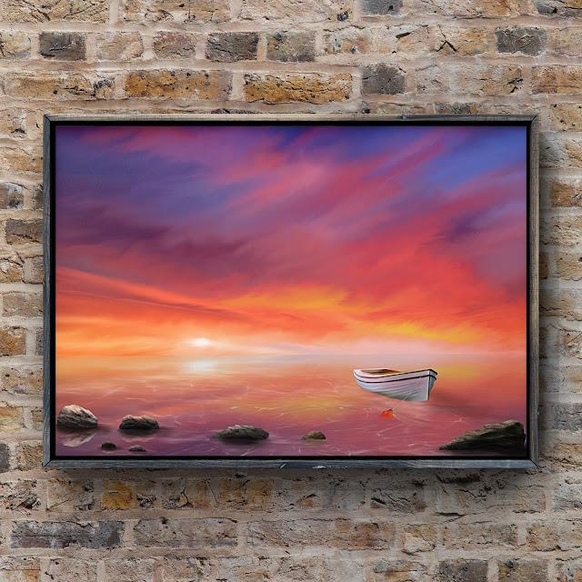 Adrift under a burning sky, artwork, landscape art, art by Mark Taylor,