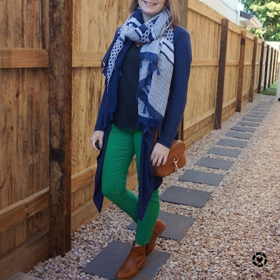 awayfromblue Instgram | mums tyle jeans tee cardigan scarf navy green outfit with matching shoes and bag