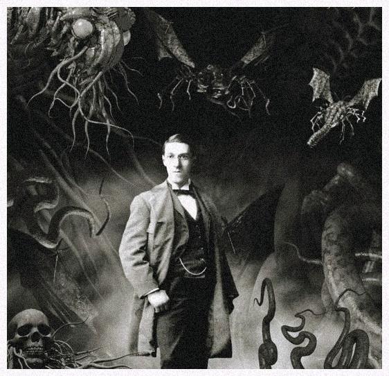 Ilustração com montagem de H.P. Lovecraft em meio às criaturas de suas obras.