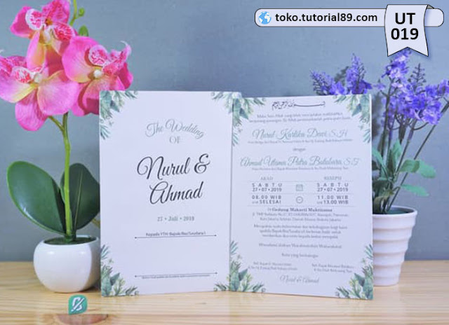 Undangan pernikahan UT019 - Single Hard Cover Amplop +free kartu ucapan terima kasih