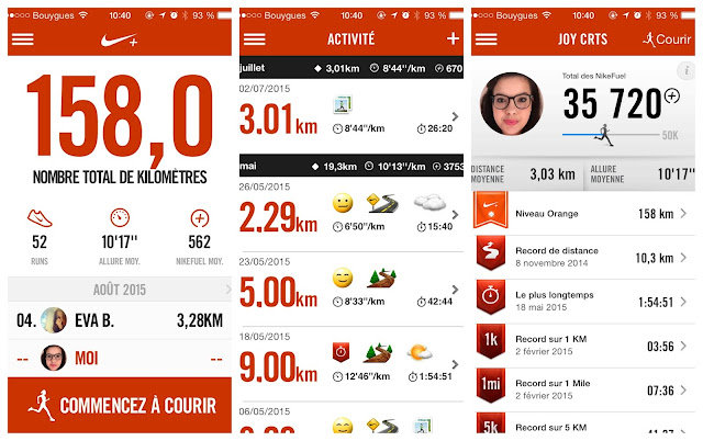 Capture d'écran de l'application Nike + Running