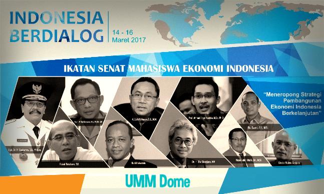 """Ikatan Senat Mahasiswa Ekonomi Indonesia (ISMEI) dalam acara seminar nasional """"Indonesia berdialog"""" di Universitas Muhammadiyah Malang (UMM), 14-16 maret 201, akan melaksanakan sejumlah agenda besar . Dalam perhelatan tersebut, sejumlah tokoh nasional dan kepala daerah direncanakan hadir sebagai narasumber.   Ketua Badan Eksekutif Mahasiswa Ekonomi dan Bisnis (BEM FEB) UMM, Setiawan menyatakan bahwa masing-masing pembicara dalam acara tersebut telah mengkonfirmasi kesiapannya. Sehingga tidak ada keraguan lagi terkait dengan status kehadiran para pembicara.  """"Insya Allah sudah siap semua"""" ungkapnya kepada Indikator Malang, Sabtu (11/3/17).   Berdasarkan rilis dari panitia, 8 agenda acara ang sedianya dilaksanakan selama 3 hari, direncanakan sebagai berikut:  Pada hari Selasa (14/3/17), diawali dengan Orasi Kebangsaan yang disampaikan oleh Dr. H. Soekarwo, SH. M. Hum (Gubernur Jawa Timur) sekaligus membuka secara resmi kegiatan tersebut.  Dilanjutkan oleh Dr. H Zulkifli Hasan, S.E., M.M. (Ketua MPR Republik Indonesia) sebagai keynote speaker dengan judul  """"Strategi Penguatan GBHN Dalam Menyongsong Pembangunan Ekonomi Indonesia"""". Acara hari pertama akan ditutup dengan kuliah tamu  berjudul """"Peran Kemitraan POLRI dengan Universitas Dalam Memperkuat Ekonomi NKRI Pada Sistem Keamanan Bangsa"""" yng disampaikan oleh Dr. H. M. Tito Karnavian, M.A., Ph.D (Kepala Kepolisian Negara Republik Indonesia).   Pada hari kedua, Rabu (15/3/17),  disampaikan Orasi Ilmiah, pada kesempatan pertama, dengan judul """"Sinergitas Pengusaha dan Pemerintah Dalam Akselerasi Pembangunan Ekonomi Nasional"""" yang disampaikan Bahlil Lahadalia (Ketua Umum BPP HIPMI). Selanjutnya diadakan Dialog Ekonomi Kebangsaan dengan judul """"Pembangunan Infrastruktur Dan Penguatan Daya Saing Menuju Pembangunan Ekonomi Berkelanjutan"""" bersama Prof. Ahmad EraniYustika S.E, M.Sc, PhD (DirektoralJendral PDPM), Eka Sastra (Anggota DPR RI), Faisal Basri (Pakar Ekonomi) dan Dr. Nazarudin Malik M.Si (Wakil Rektor II UMM).   Pada h"""