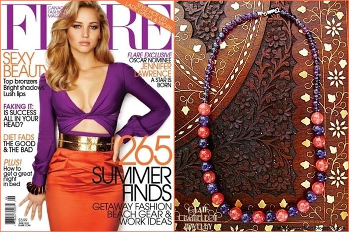Glam Chameleon Jewelry round amethyst and cherry quartz necklace