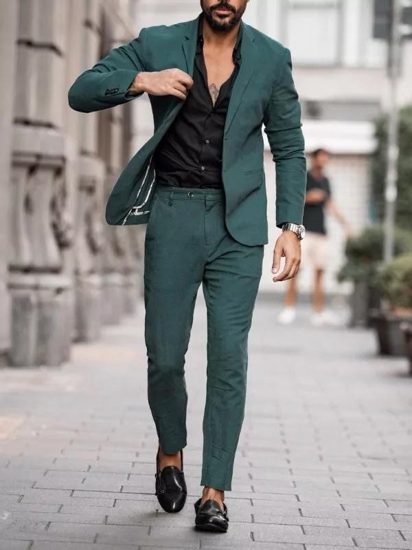 Teal colour suit with black shirt