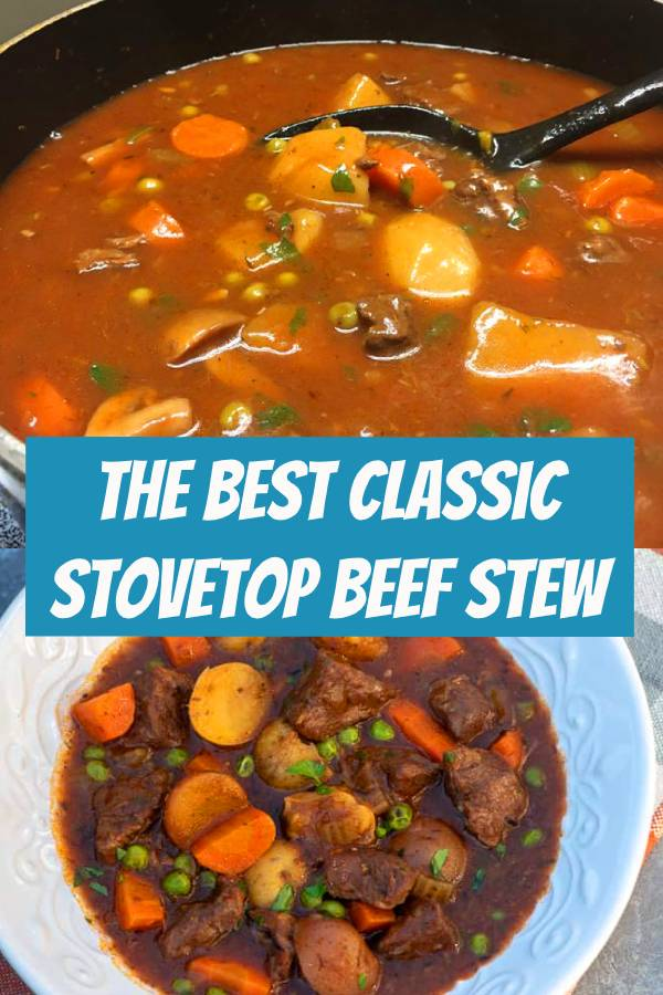 Tender chunks of beef, vibrant veggies, and creamy potatoes all cook together in a deliciously seasoned sauce in one pot on the stove. This Classic Stovetop Beef Stew is a recipe that never goes out of style. #beefstew #onepotrecipes #onepot #classicrecipes #vintagerecipes