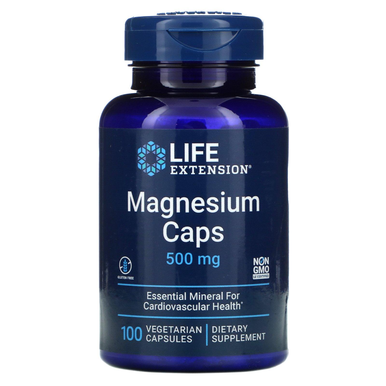 Life Extension, магний в капсулах, 500 мг, 100 вегетарианских капсул