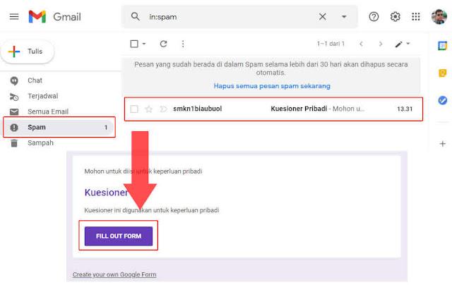 link google form di terima di email