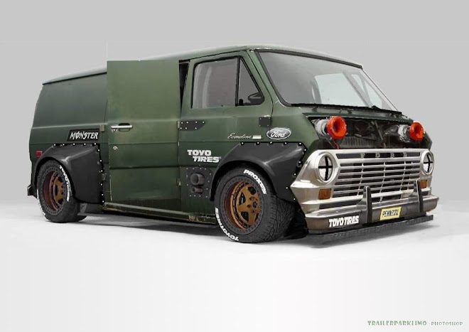 Slammed Twin Turbo Ford Econoline Getaway Van by Trailerpark Limo