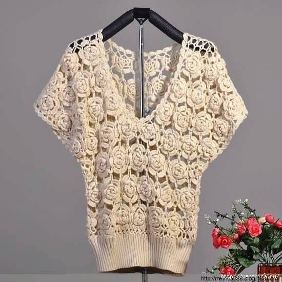 Patron #1761: Blusa de Rosas a Crochet