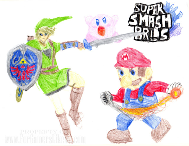 Super Smash Bros Fan Art - Link, Mario, Kirby