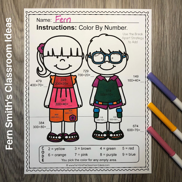 Click Here to Download This 3rd Grade Math Addition & Subtraction Within 1,000 Color By Number Worksheets Resource Bundle