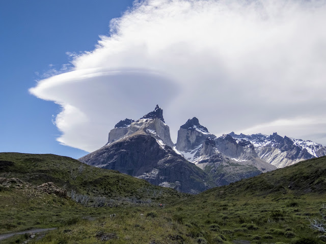 Swirling clouds over the mountains en route to Mirador Cuernos in Torres del Paine National Park in Patagonia