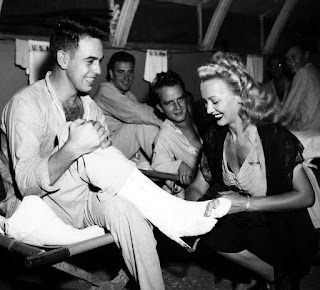 Carole Landis With Injured Soldiers