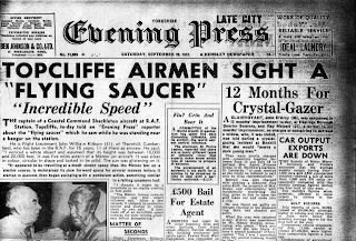 Topcliffe Airmen Sight a Flying Saucer - Evening Press 9-20-1952