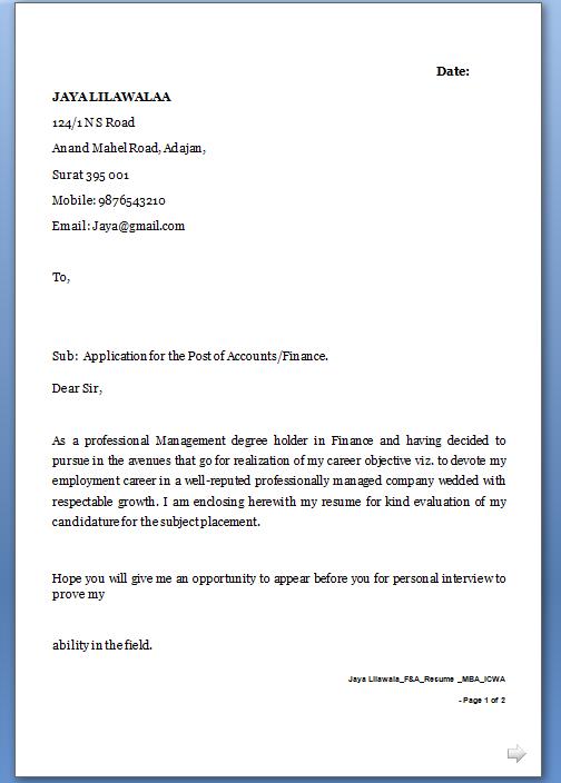 Sample Letter For Job Application