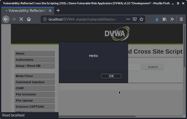 Reflected cross site scripting using DVWA
