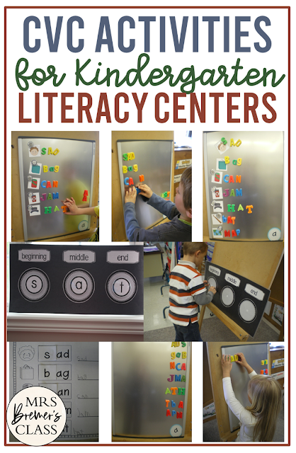 CVC activities to practice beginning, middle, and ending sounds in Kindergarten literacy centers and word work stations