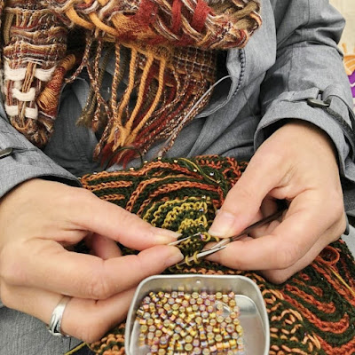 Knitting on the go with travel beading kit