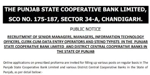 The Punjab State Cooperative Bank Limited Recruitment 2021