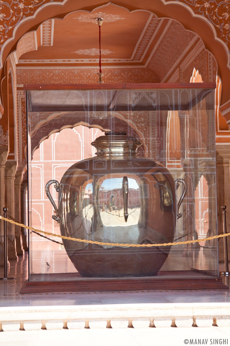 Sterling silver vessels of 5.2 ft height and weighing 340 kilograms at The City Palace, Jaipur.