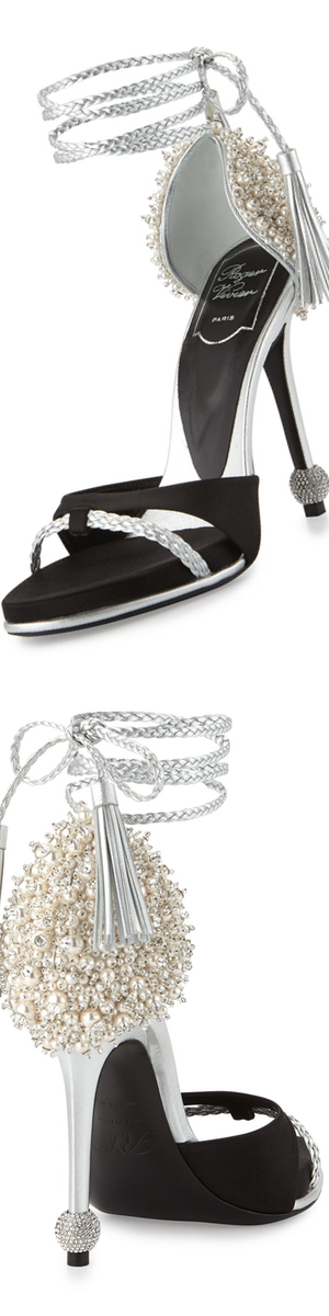 Roger Vivier Lasso Pearly Ankle-Wrap Sandal, Black/Silver