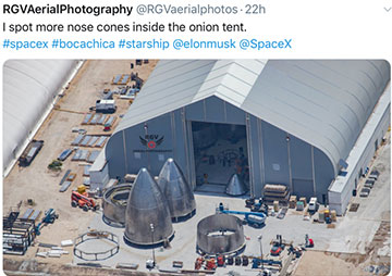 Aerial view of more nosecones for next serial numbers of Starships (Source: @RGVaerialphotos)