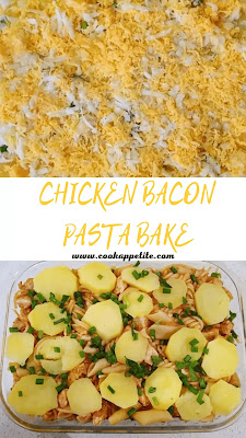 This bacon pasta bake with chicken and potatoes doesn't need salads to compliment it, it's delicious, easy and quick to make. I call it chicken and bacon pasta bake but it's more of a chicken and bacon pasta casserole