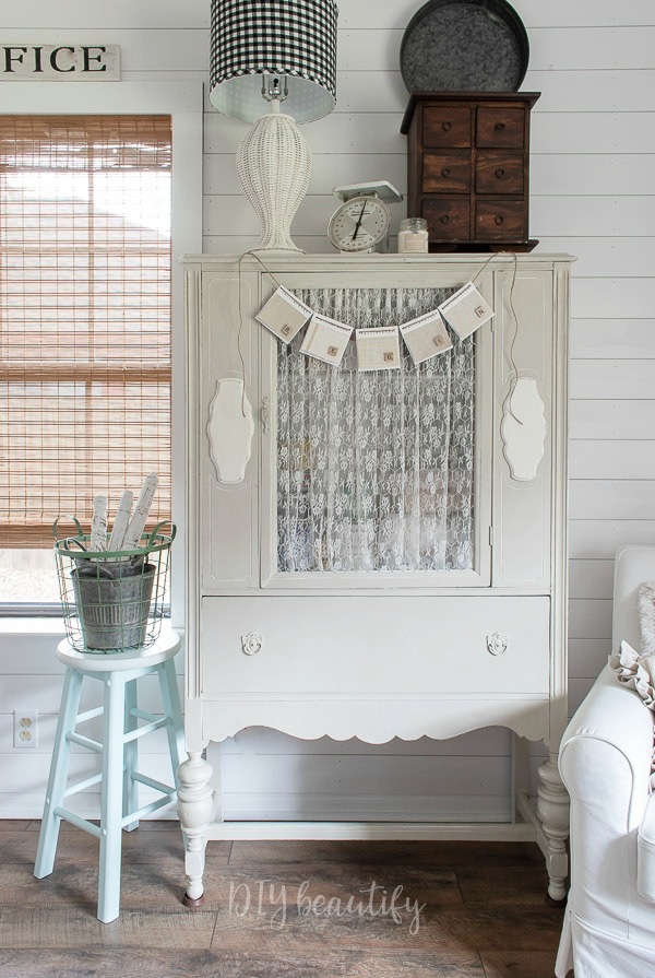 vintage hutch with decor