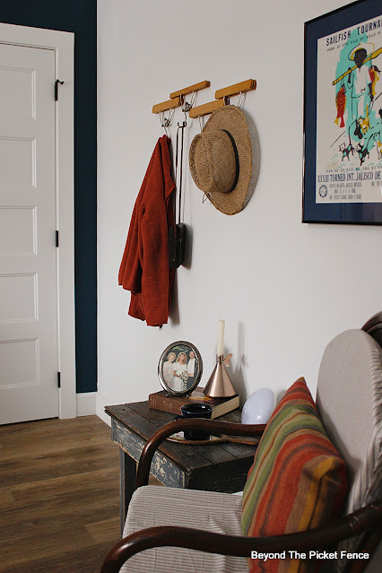 Rustic Boho Bedroom Seating Area and DIY Coat Hook