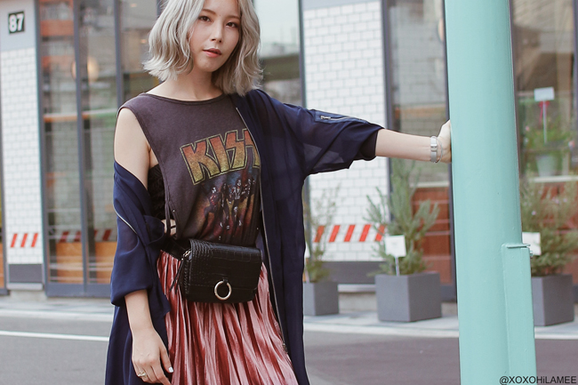 Japanese Fashion Blogger,MizuhoK,20180922OOTD, LONG MA-1 : jouetie / TANK TOP : SNIDEL / SKIRT : CHICWISH / BAG : SHEIN / SANDALS : ZARA / WATCH : Olivia Burton / bracelet : SHASHI