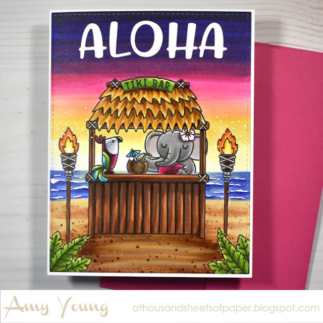 Sunny Studio Stamps: Tiki Time Chloe Alphabet Dies Card by Amy Young