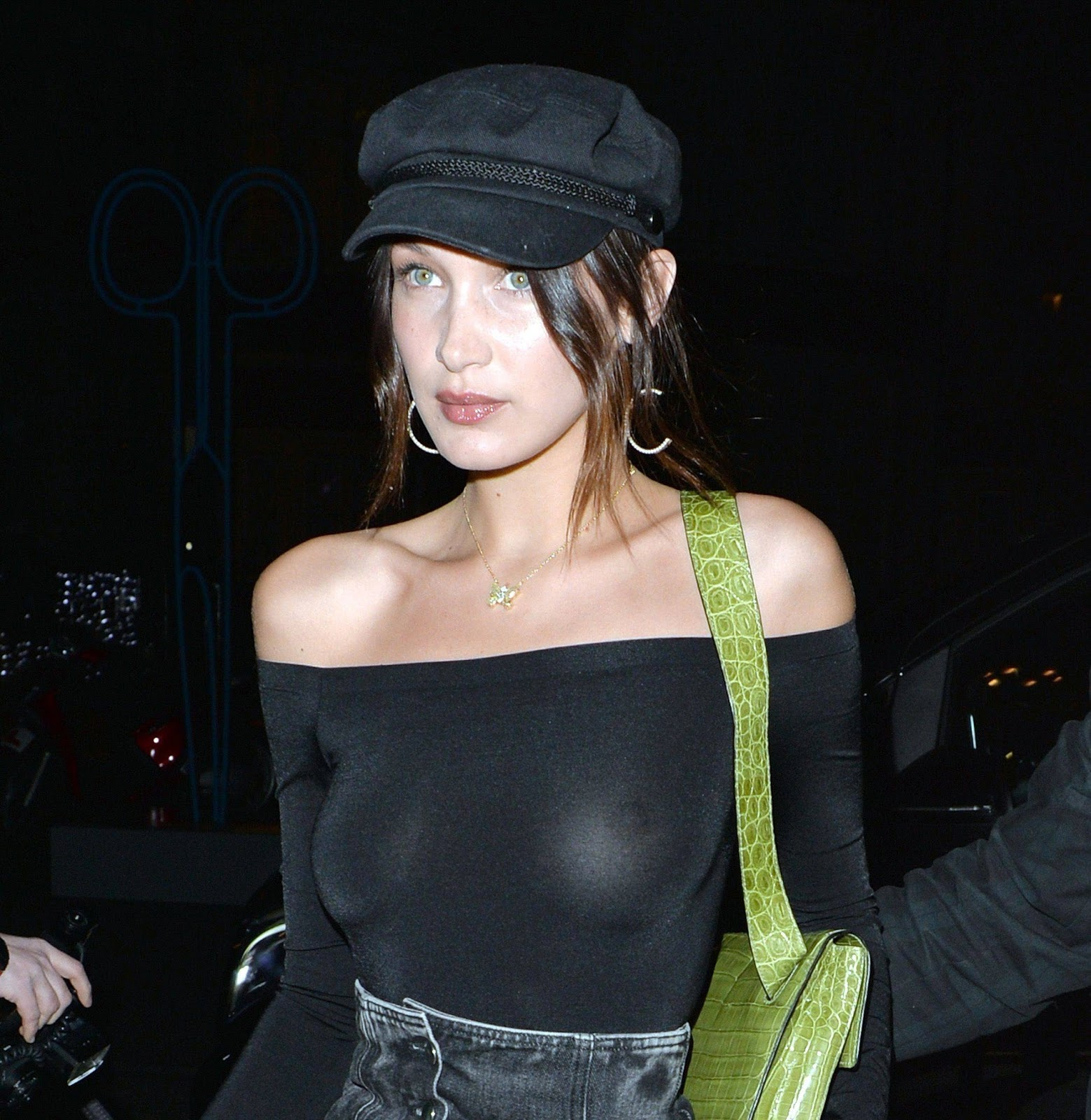Bella Hadid goes braless