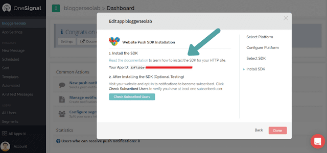 free web push notification widget for blogger