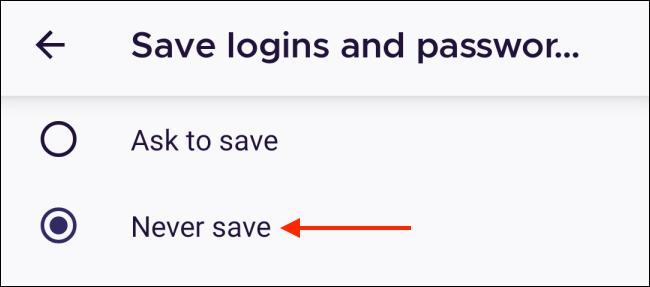 انقر فوق عدم الحفظ مطلقًا في Firefox