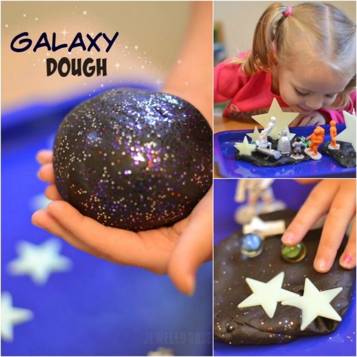 DIY Galaxy dough for kids- this stuff is so cool! #galaxydough #playdoughrecipe