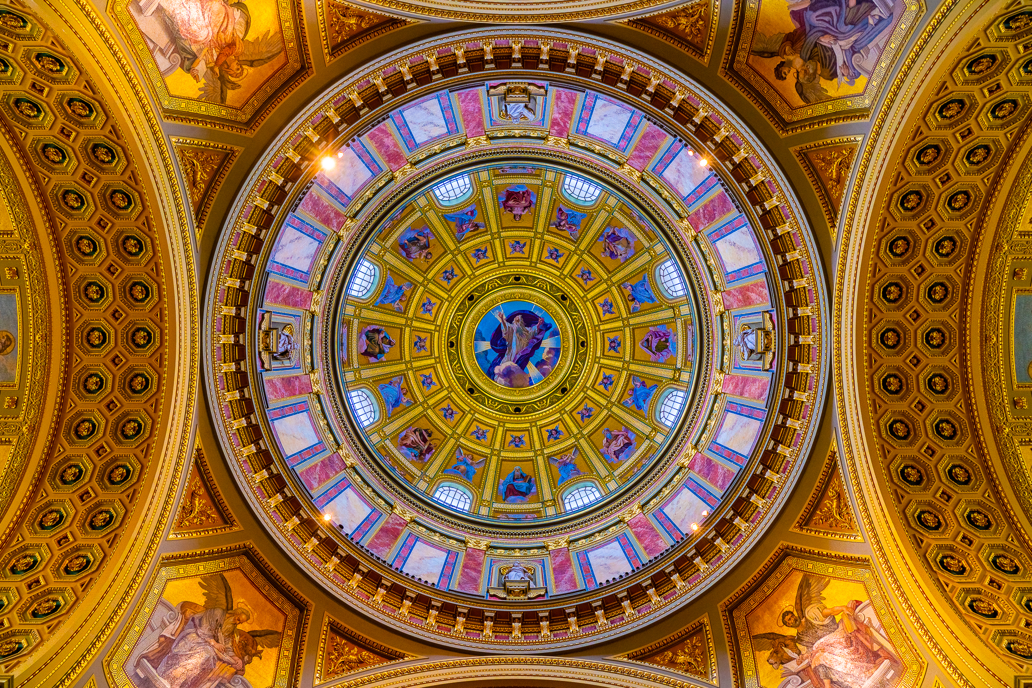 a photo of the dome at st stephen basilica budapest